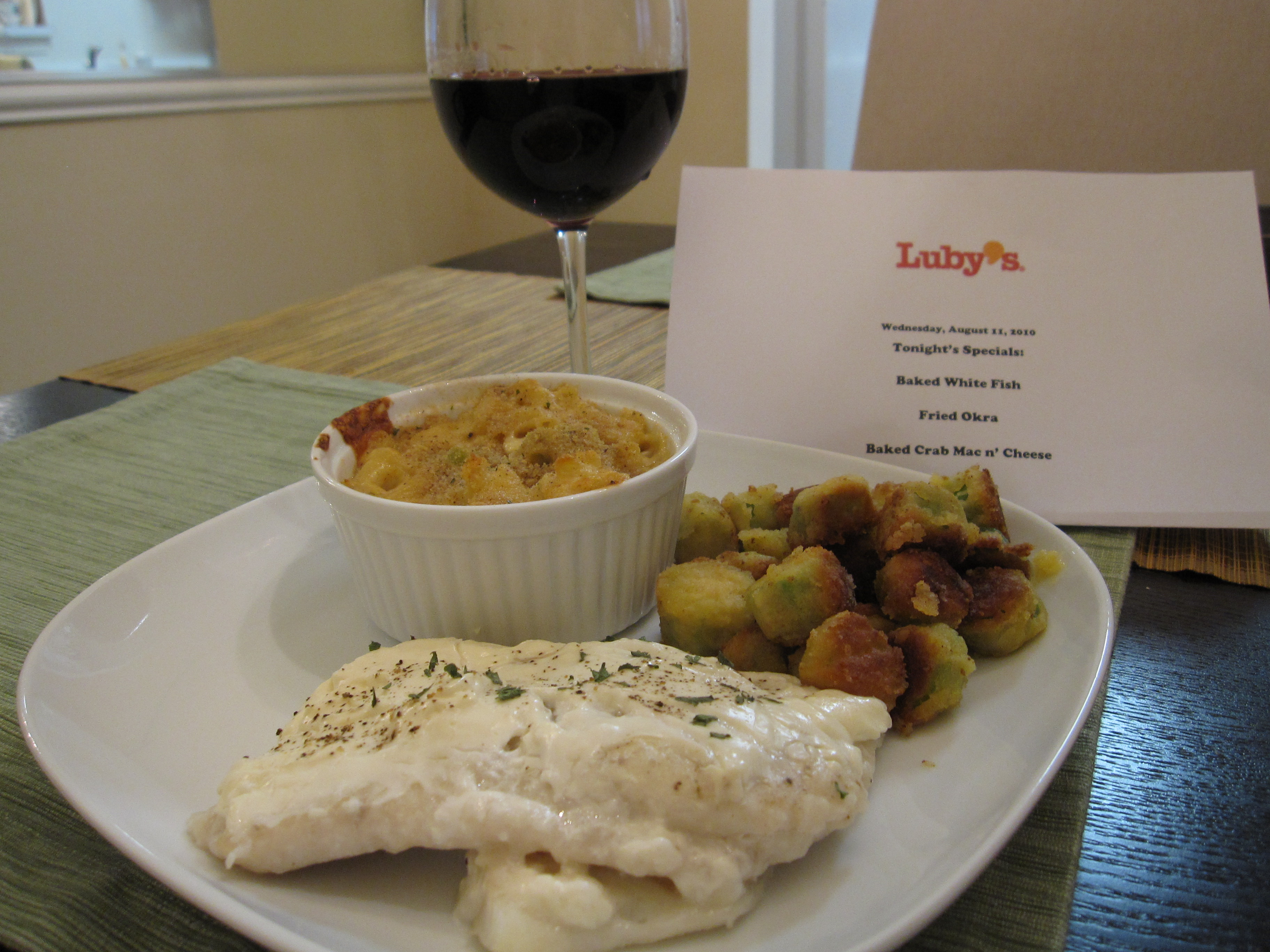 Luby s night tablespoon of salt for Lubys fried fish